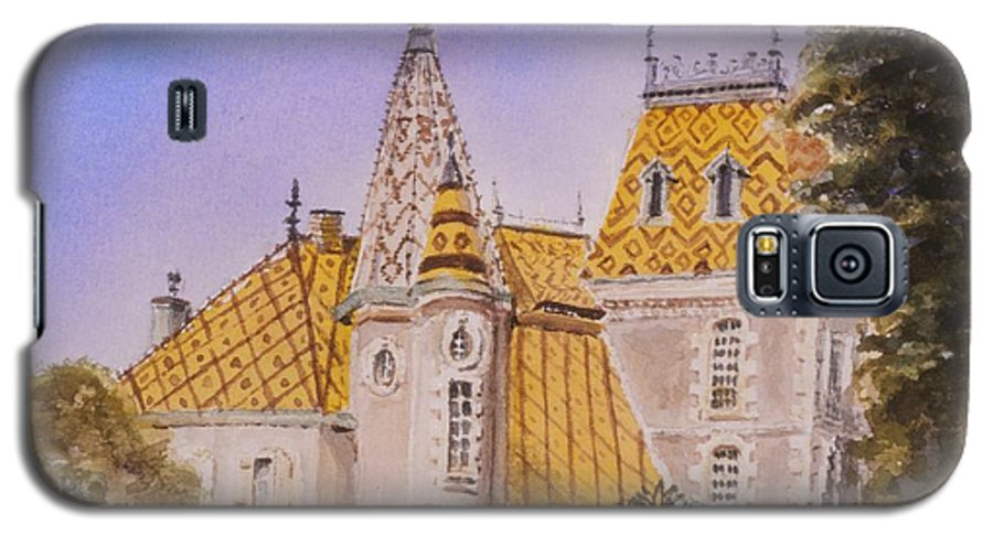 Vineyard Galaxy S5 Case featuring the painting Aloxe Corton Chateau Jaune by Mary Ellen Mueller Legault