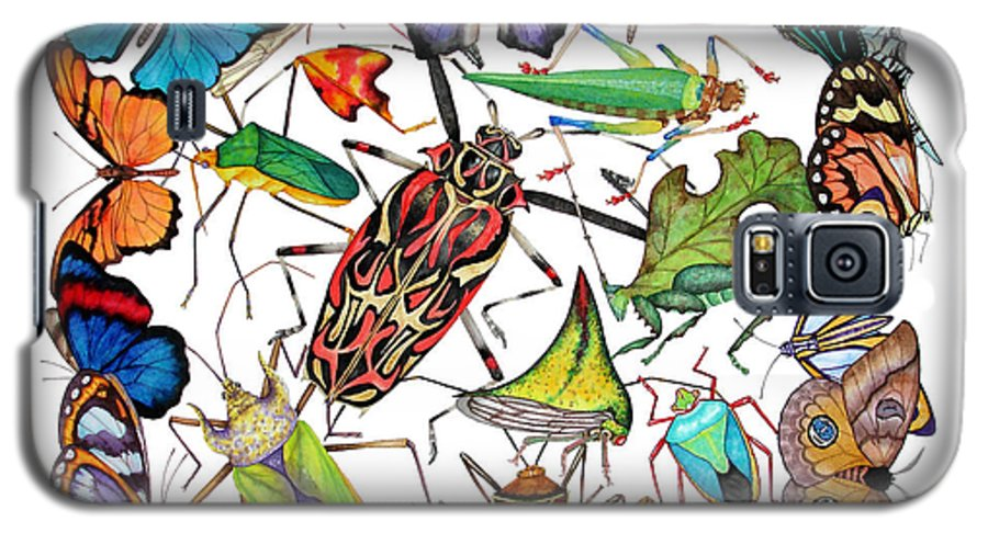 Insects Galaxy S5 Case featuring the painting Amazon Insects by Lucy Arnold