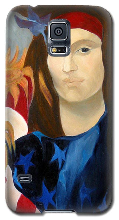 Figurative Galaxy S5 Case featuring the painting American Jokonda by Antoaneta Melnikova- Hillman