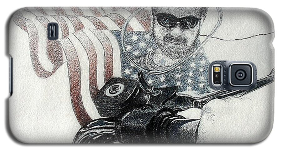 Motorcycles Harley American Flag Cycles Biker Galaxy S5 Case featuring the drawing American Rider by Tony Ruggiero