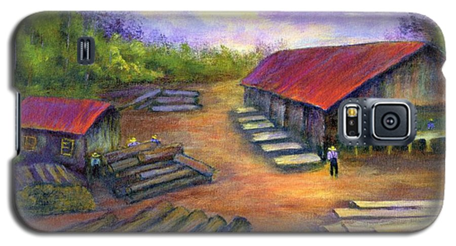 Amish Galaxy S5 Case featuring the painting Amish Lumbermill by Gail Kirtz