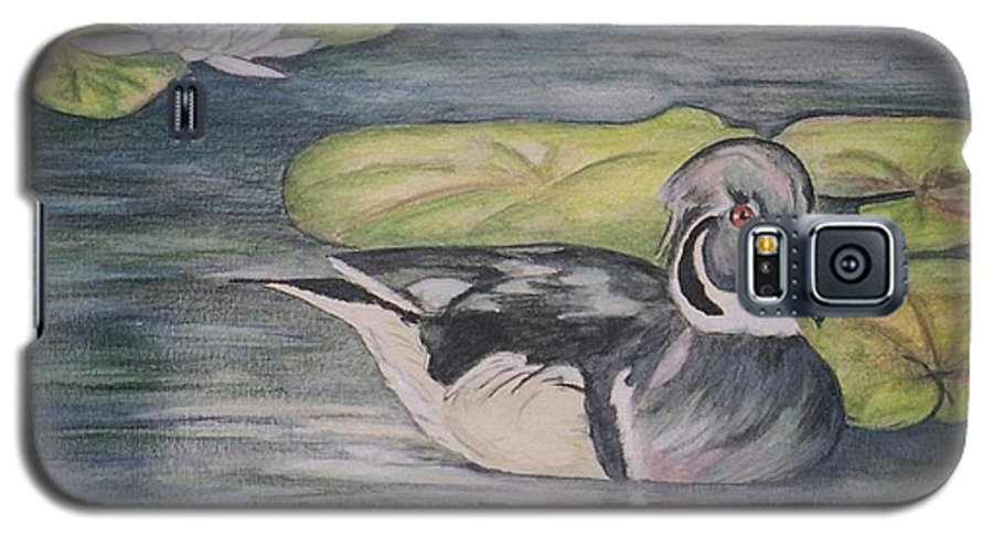 Wood Duck Galaxy S5 Case featuring the painting Among The Lillypads by Debra Sandstrom
