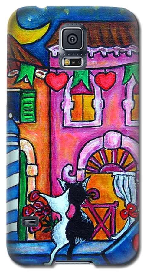 Cats Galaxy S5 Case featuring the painting Amore In Venice by Lisa Lorenz