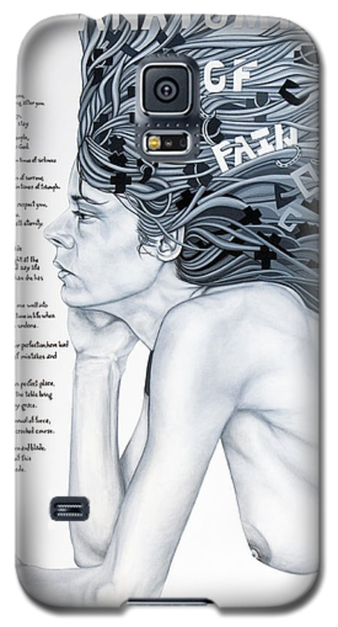 Poetry Galaxy S5 Case featuring the painting Anatomy Of Pain by Judy Henninger