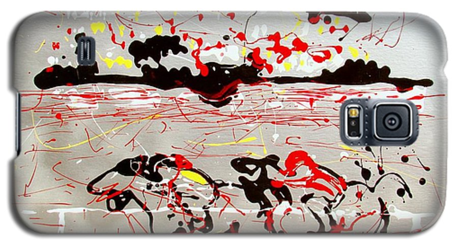 Abstract Galaxy S5 Case featuring the mixed media And Down The Stretch They Come by J R Seymour