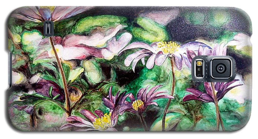 Floral Painting Galaxy S5 Case featuring the painting Anemones Japonaises by Muriel Dolemieux