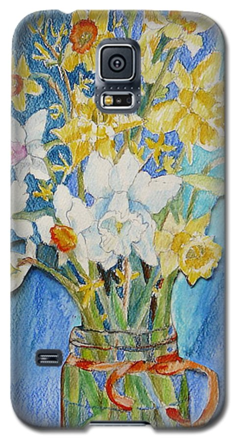 Flowers Galaxy S5 Case featuring the painting Angels Flowers by Jan Bennicoff