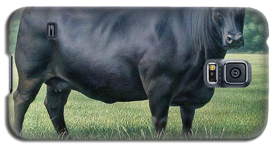 Black Angus Cow Galaxy S5 Case featuring the painting Angus Cow 182m 2 2007 by Hans Droog