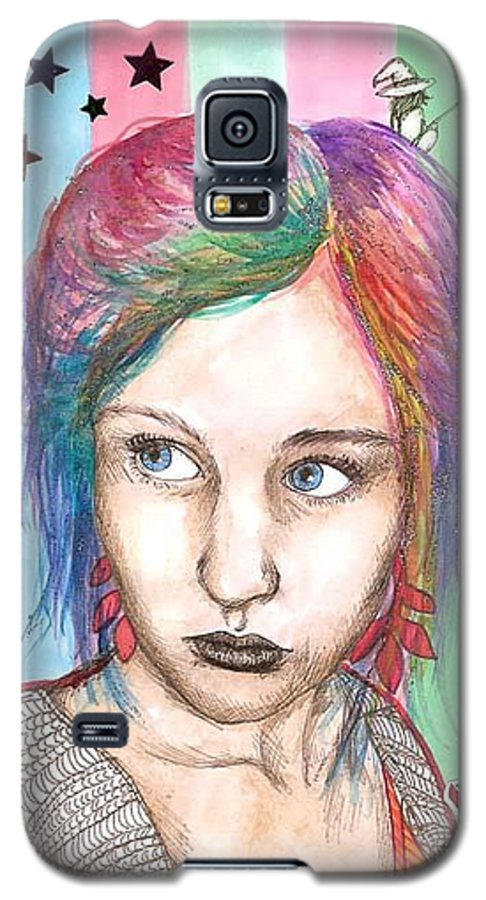 Stars Galaxy S5 Case featuring the drawing Anne Sofie by Freja Friborg