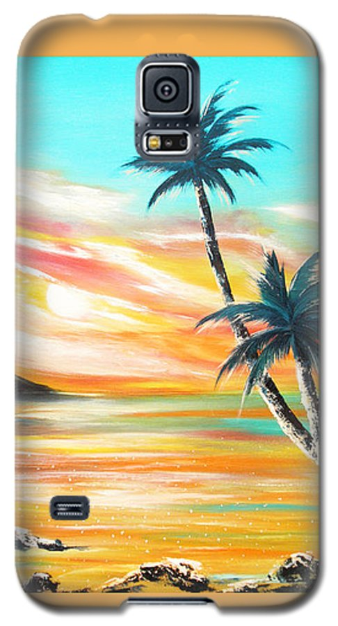 Sunset Galaxy S5 Case featuring the painting Another Sunset In Paradise by Gina De Gorna