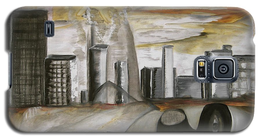 Apocalypse City End Futurism Inch Nails Nin Nine Oil Painting Times Year Zero Galaxy S5 Case featuring the painting Another Version Of The Truth by Darkest Artist