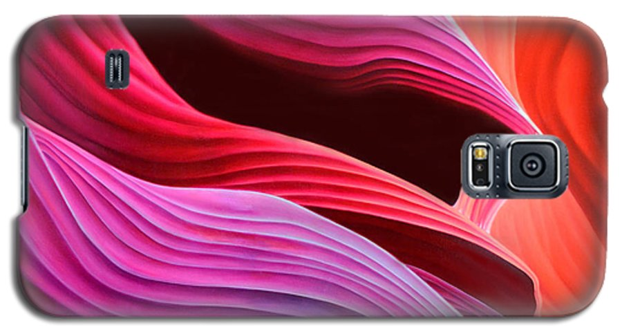 Antelope Canyon Galaxy S5 Case featuring the painting Antelope Waves by Anni Adkins