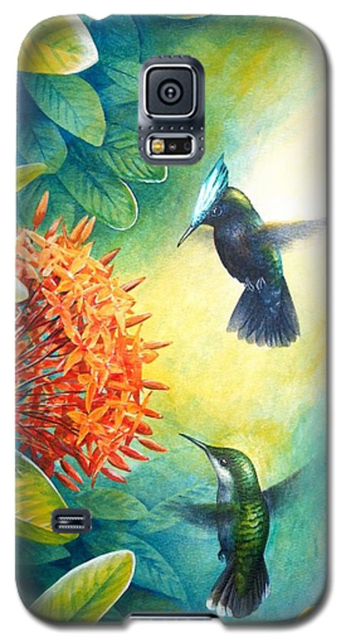 Chris Cox Galaxy S5 Case featuring the painting Antillean Crested Hummingbirds And Ixora by Christopher Cox