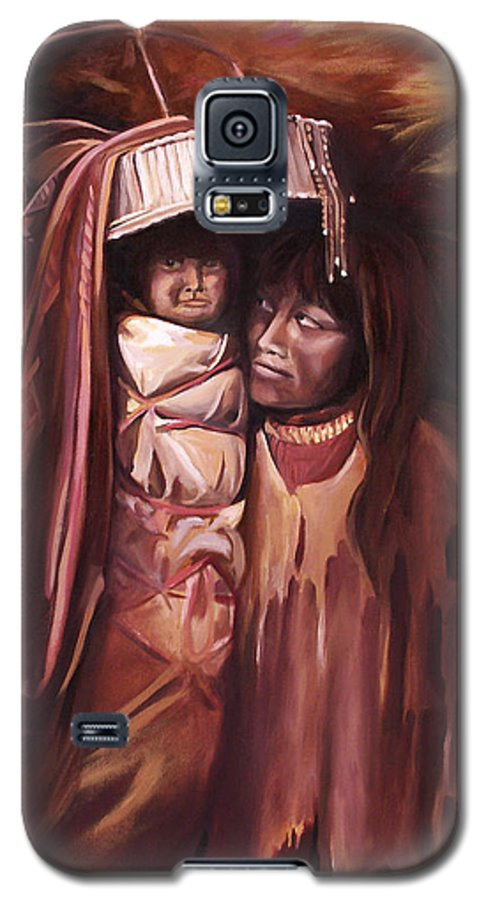 Native American Galaxy S5 Case featuring the painting Apache Girl And Papoose by Nancy Griswold
