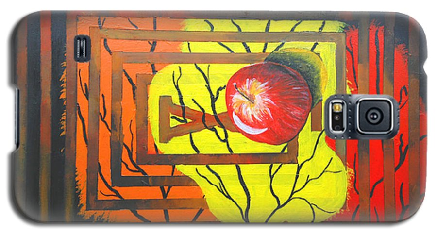 Abstract Galaxy S5 Case featuring the painting Apple by Olga Alexeeva