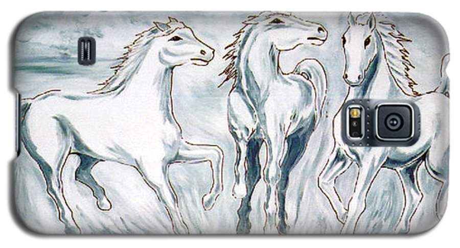 Horses Galaxy S5 Case featuring the painting Arabian Roots by Marco Morales