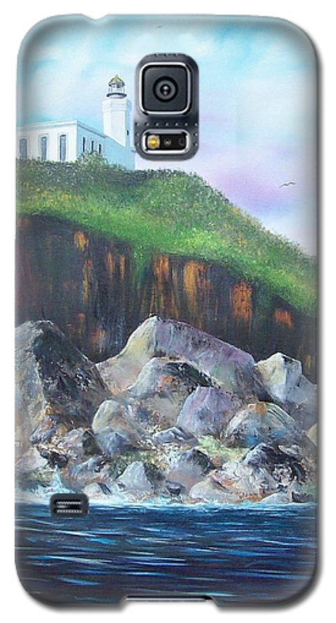 Arecibo Lighthouse Galaxy S5 Case featuring the painting Arecibo Lighthouse by Tony Rodriguez