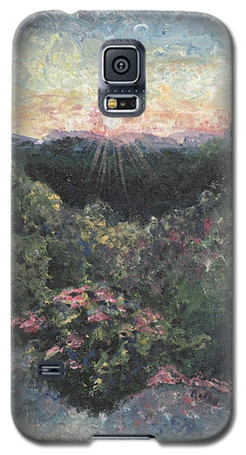 Landscape Galaxy S5 Case featuring the painting Arkansas Mountain Sunset by Nadine Rippelmeyer