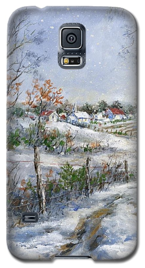 Snowfall Galaxy S5 Case featuring the painting Around The Bend Sold by Virginia Potter