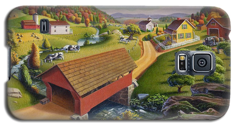 Covered Bridge Galaxy S5 Case featuring the painting Folk Art Covered Bridge Appalachian Country Farm Summer Landscape - Appalachia - Rural Americana by Walt Curlee