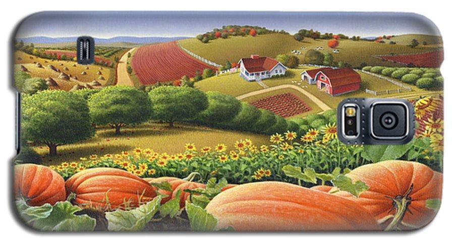 Pumpkin Galaxy S5 Case featuring the painting Farm Landscape - Autumn Rural Country Pumpkins Folk Art - Appalachian Americana - Fall Pumpkin Patch by Walt Curlee