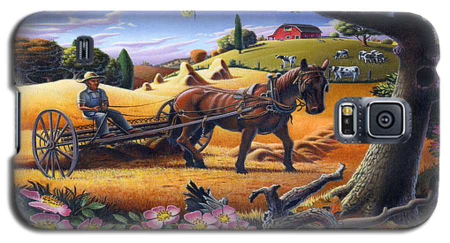Raking Hay Galaxy S5 Case featuring the painting Raking Hay Field Rustic Country Farm Folk Art Landscape by Walt Curlee