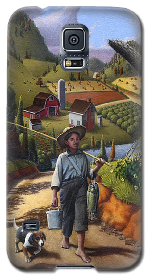 Boy And Dog Galaxy S5 Case featuring the painting Boy And Dog Farm Landscape - Flashback - Childhood Memories - Americana - Painting - Walt Curlee by Walt Curlee