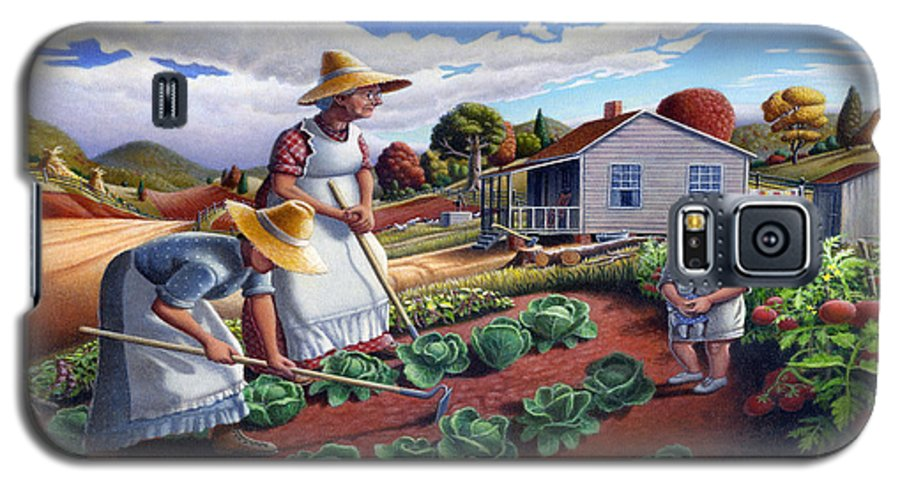 Farm Family Galaxy S5 Case featuring the painting Family Vegetable Garden Farm Landscape - Gardening - Childhood Memories - Flashback - Homestead by Walt Curlee