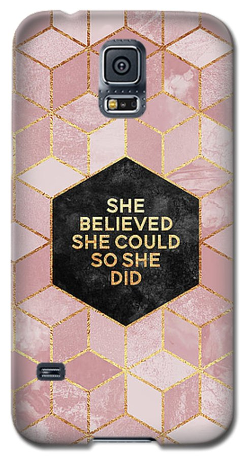 Graphic Galaxy S5 Case featuring the digital art She Believed She Could by Elisabeth Fredriksson