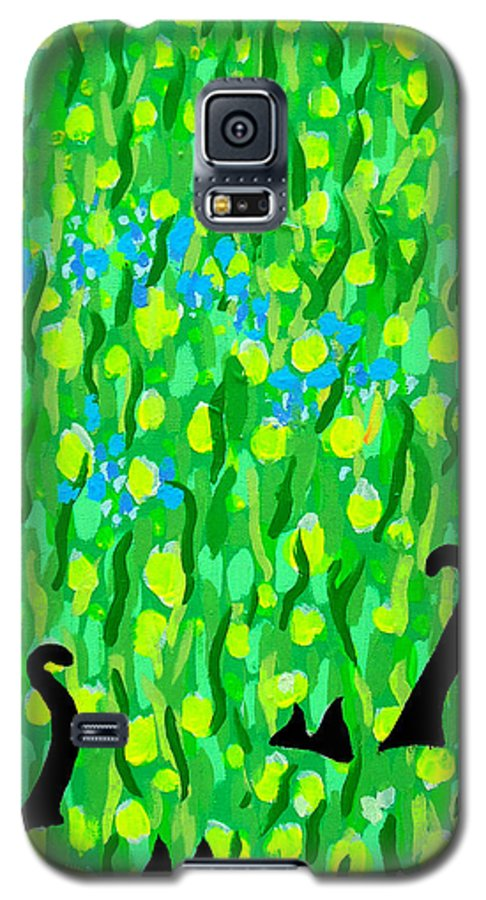 Flowers Galaxy S5 Case featuring the painting Two Black Cats by Alan Hogan