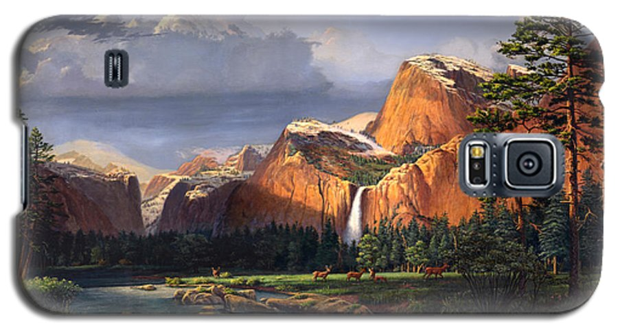 American Galaxy S5 Case featuring the painting Deer Meadow Mountains Western Stream Deer Waterfall Landscape Oil Painting Stormy Sky Snow Scene by Walt Curlee
