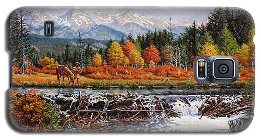 Western Mountain Landscape Galaxy S5 Case featuring the painting Western Mountain Landscape Autumn Mountain Man Trapper Beaver Dam Frontier Americana Oil Painting by Walt Curlee