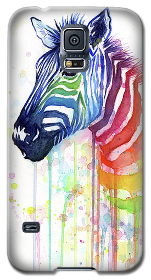 Rainbow Galaxy S5 Case featuring the painting Rainbow Zebra - Ode To Fruit Stripes by Olga Shvartsur