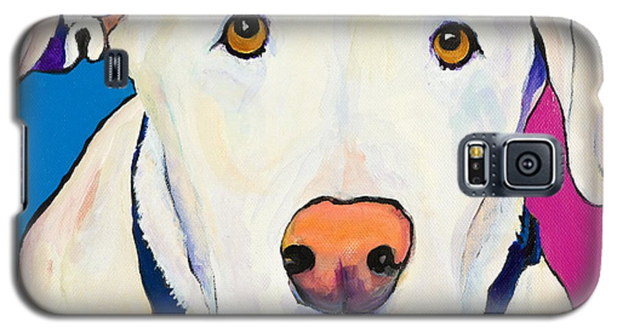 White Lab Yellow Lab Animal Paintings Golden Eyes Square Format Dogs Pets Rescued Galaxy S5 Case featuring the painting Aslinn by Pat Saunders-White