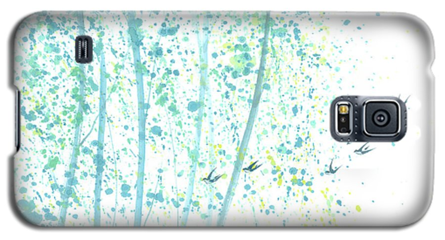 Birds Flying Through An Aspen Forest. This Is A Contemporary Chinese Ink And Color On Rice Paper Painting With Simple Zen Style Brush Strokes. Galaxy S5 Case featuring the painting Aspen Forest by Mui-Joo Wee