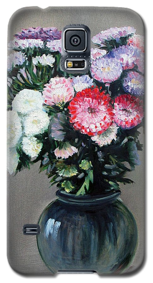 Flowers Galaxy S5 Case featuring the painting Asters by Paul Walsh