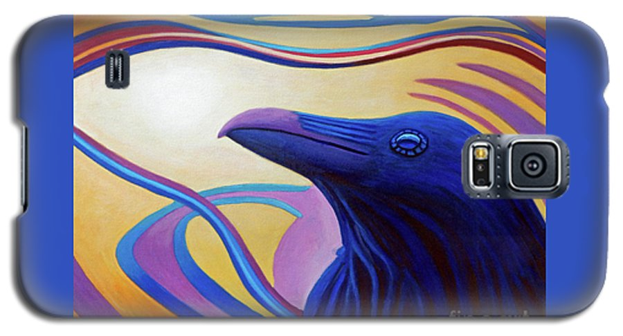 Raven Galaxy S5 Case featuring the painting Astral Raven by Brian Commerford