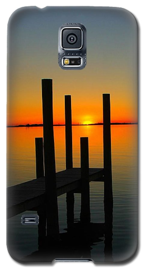 Sunset Galaxy S5 Case featuring the photograph At The Pier by Judy Waller