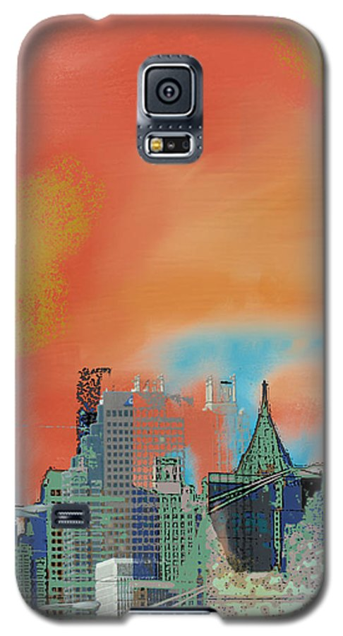 Atlanta Galaxy S5 Case featuring the mixed media Atlanta Abstract After The Tornado by Ann Tracy