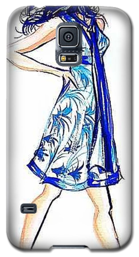 Girl With Attitude Galaxy S5 Case featuring the painting Attitude by Laura Rispoli