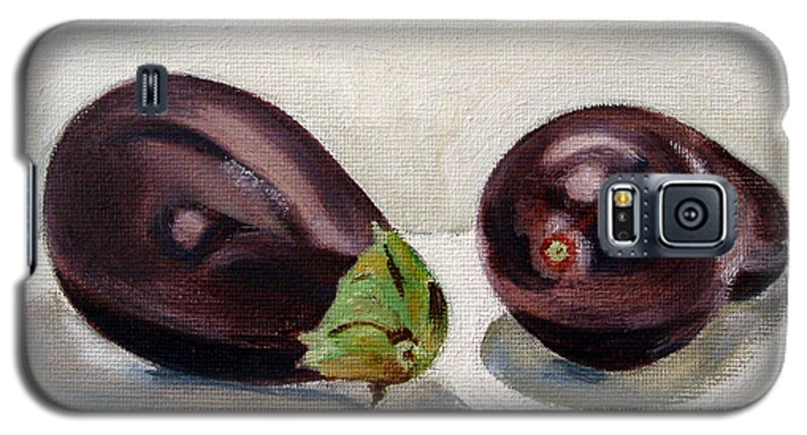 Still-life Galaxy S5 Case featuring the painting Aubergines by Sarah Lynch