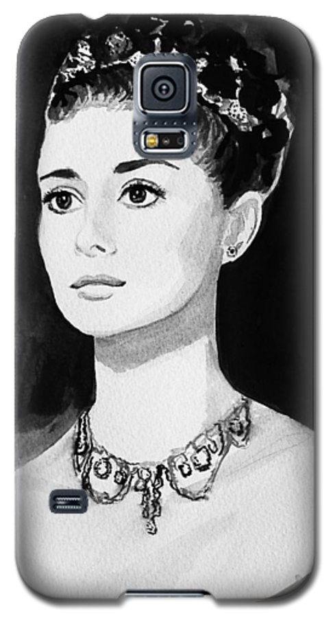 Audrey Hepburn Galaxy S5 Case featuring the painting Audrey by Laura Rispoli