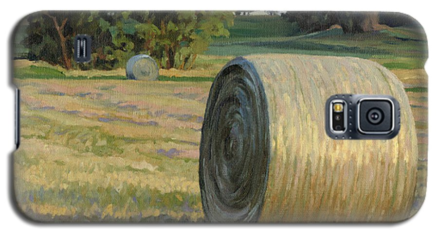 Landscape Galaxy S5 Case featuring the painting August Bales by Bruce Morrison