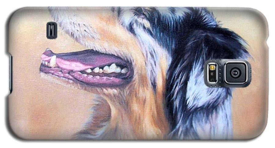 Dog Galaxy S5 Case featuring the painting Australian Shepherd Dog by Nicole Zeug