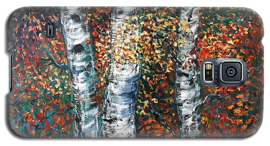 Birch Galaxy S5 Case featuring the painting Autumn Birch by Nadine Rippelmeyer