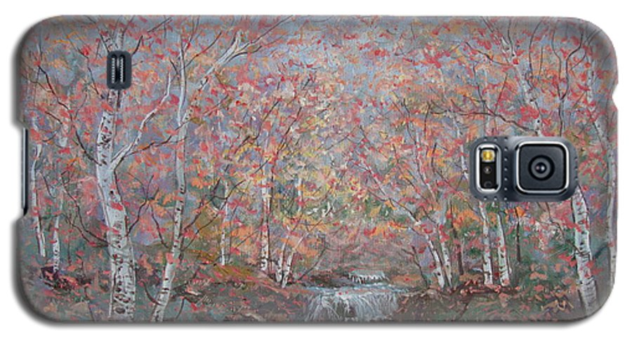 Landscape Galaxy S5 Case featuring the painting Autumn Birch Trees. by Leonard Holland