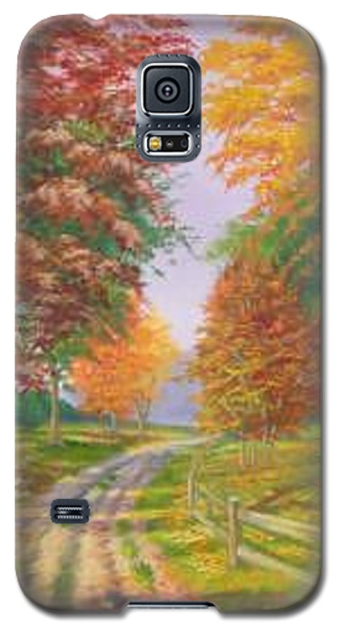 Fall Scene Galaxy S5 Case featuring the painting Autumn Drive by Tan Nguyen
