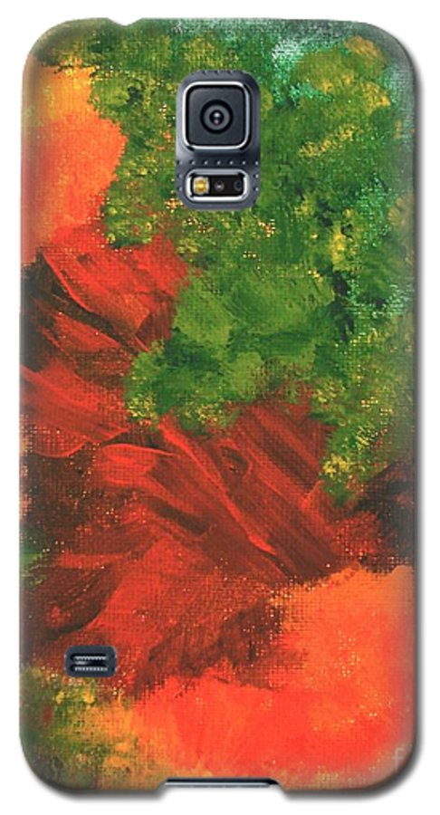 Abstract Galaxy S5 Case featuring the painting Autumn Equinox by Itaya Lightbourne