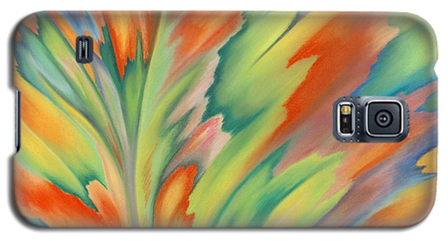 Abstract Galaxy S5 Case featuring the painting Autumn Flame by Lucy Arnold