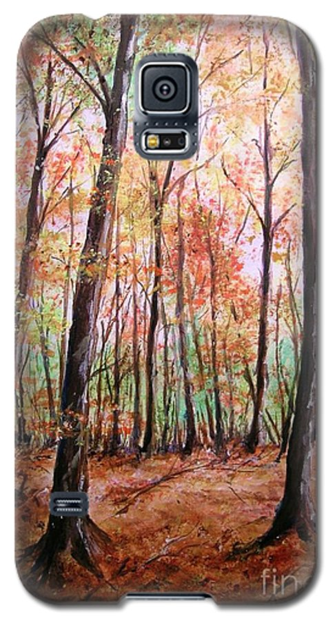 Landscape Galaxy S5 Case featuring the painting Autumn Forrest by Lizzy Forrester